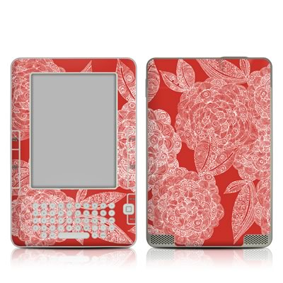 Kindle 2 Skin - Red Dahlias