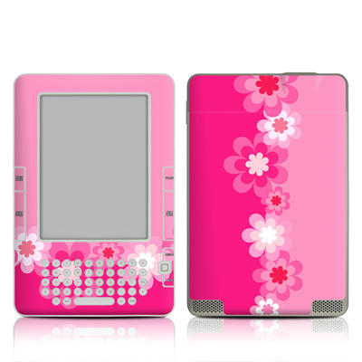 Kindle 2 Skin - Retro Pink Flowers