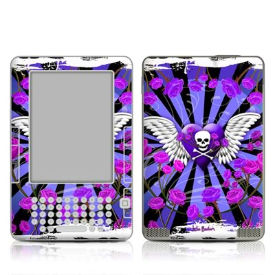 Kindle 2 Skin - Skull & Roses Purple
