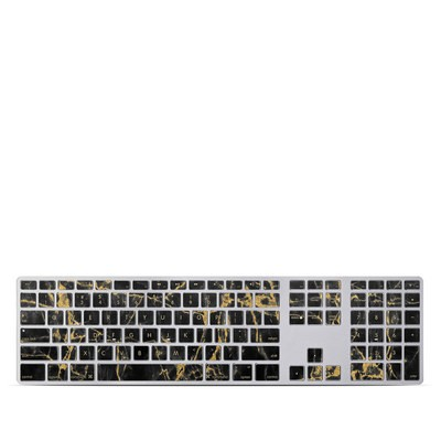 Apple Keyboard With Numeric Keypad Skin - Black Gold Marble