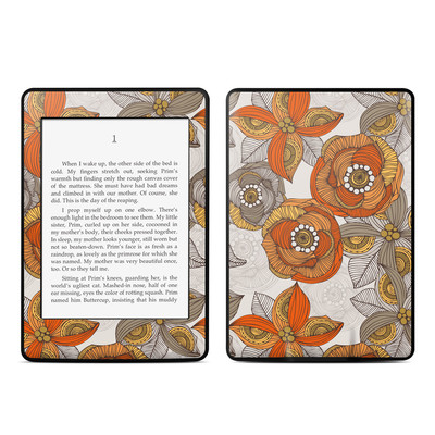 Amazon Kindle Paperwhite Skin - Orange and Grey Flowers