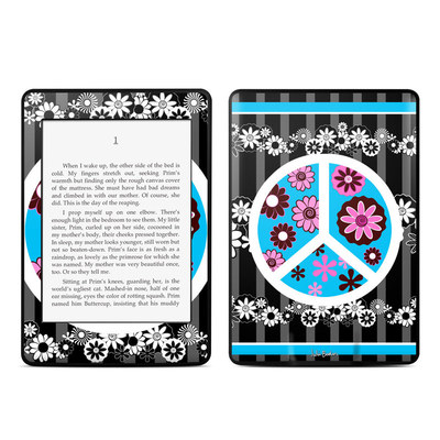 Amazon Kindle Paperwhite Skin - Peace Flowers Black