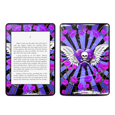 Amazon Kindle Paperwhite Skin - Skull & Roses Purple