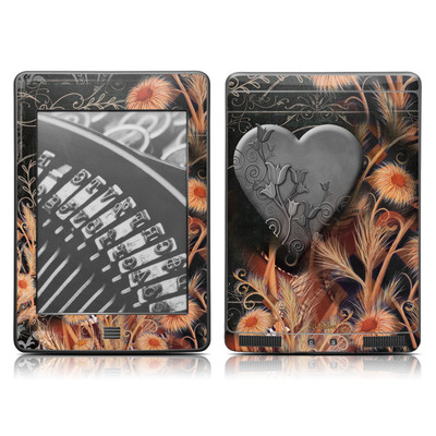 Kindle Touch Skin - Black Lace Flower
