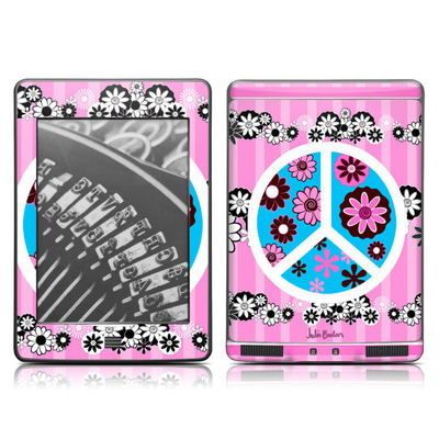 Kindle Touch Skin - Peace Flowers Pink