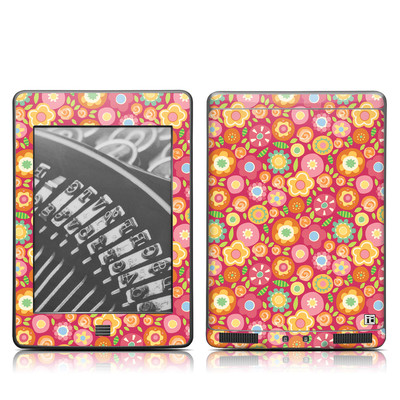 Kindle Touch Skin - Flowers Squished