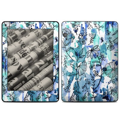 Amazon Kindle Voyage Skin - Blue Ink Floral