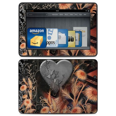 Amazon Kindle HDX Skin - Black Lace Flower