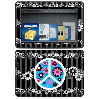 Amazon Kindle HDX 8.9 Skin - Peace Flowers Black