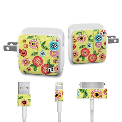 Apple iPad Charge Kit Skin - Button Flowers