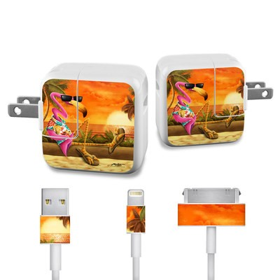Apple iPad Charge Kit Skin - Sunset Flamingo