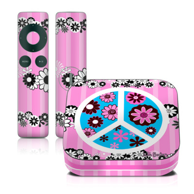 Apple TV 2G Skin - Peace Flowers Pink