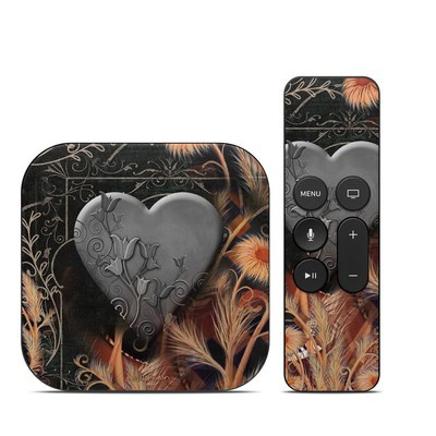 Apple TV 4th Gen Skin - Black Lace Flower