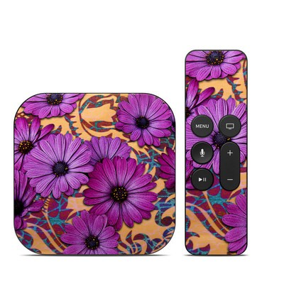 Apple TV 4th Gen Skin - Purple Daisy Damask