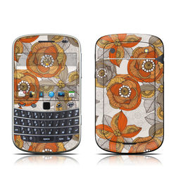 BlackBerry Bold 9930 Skin - Orange and Grey Flowers
