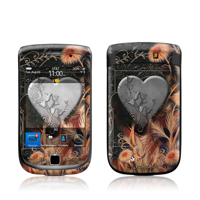 BlackBerry Torch Skin - Black Lace Flower