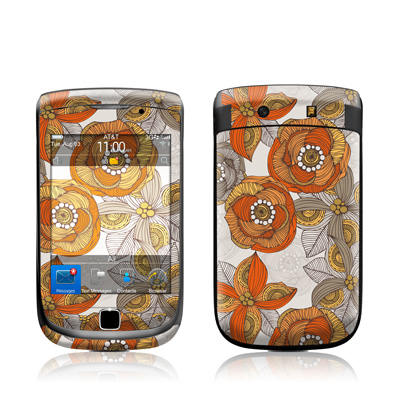 BlackBerry Torch Skin - Orange and Grey Flowers