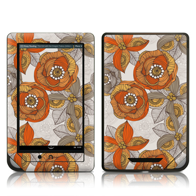 Barnes and Noble NOOKcolor Skin - Orange and Grey Flowers