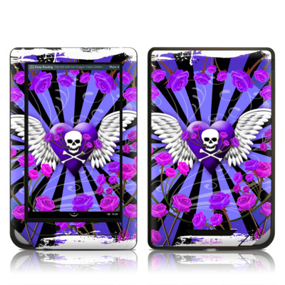 Barnes and Noble NOOKcolor Skin - Skull & Roses Purple