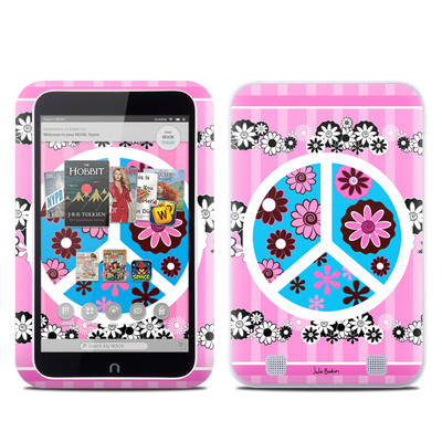 Barnes and Noble NOOK HD Tablet Skin - Peace Flowers Pink