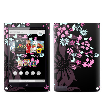 Barnes and Noble NOOK HD Plus Tablet Skin - Dark Flowers