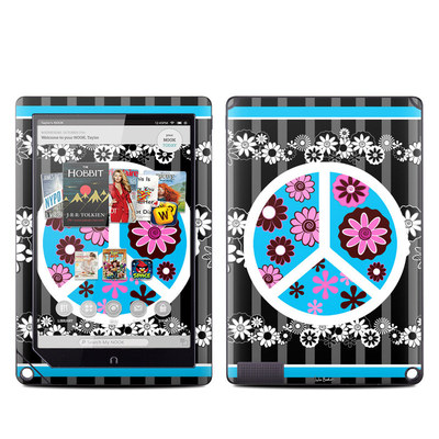 Barnes and Noble NOOK HD Plus Tablet Skin - Peace Flowers Black