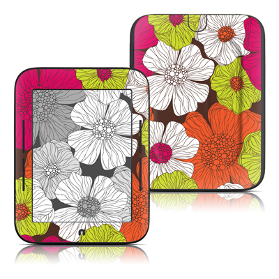 Barnes and Noble Nook Touch Skin - Brown Flowers