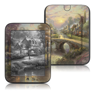 Barnes and Noble Nook Touch Skin - Sunset On Lamplight Lane