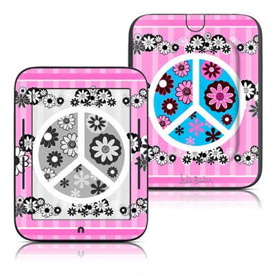 Barnes and Noble Nook Touch Skin - Peace Flowers Pink