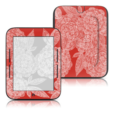 Barnes and Noble Nook Touch Skin - Red Dahlias