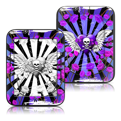 Barnes and Noble Nook Touch Skin - Skull & Roses Purple