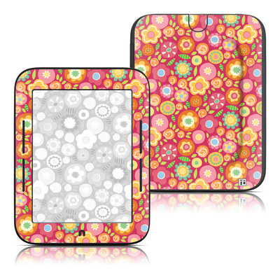Barnes and Noble Nook Touch Skin - Flowers Squished