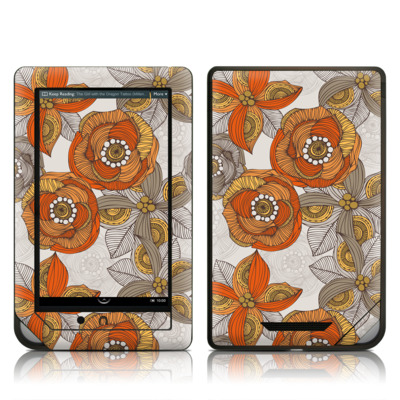 Barnes and Noble NOOK Tablet Skin - Orange and Grey Flowers