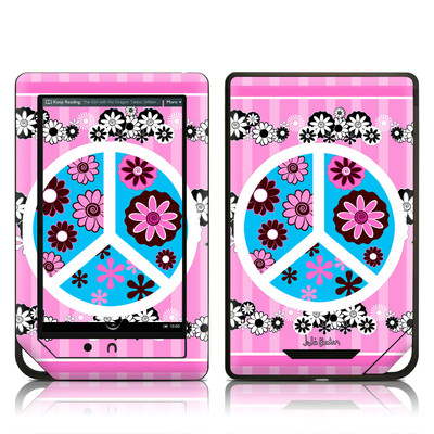 Barnes and Noble NOOK Tablet Skin - Peace Flowers Pink