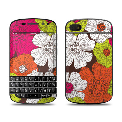 BlackBerry Q10 Skin - Brown Flowers