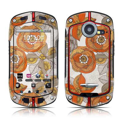 Casio G'zOne Commando Skin - Orange and Grey Flowers