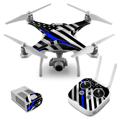 DJI Phantom 4 Skin - Thin Blue Line Hero