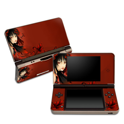 DSi XL Skin - Black Flower