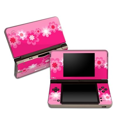 DSi XL Skin - Retro Pink Flowers