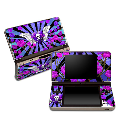 DSi XL Skin - Skull & Roses Purple