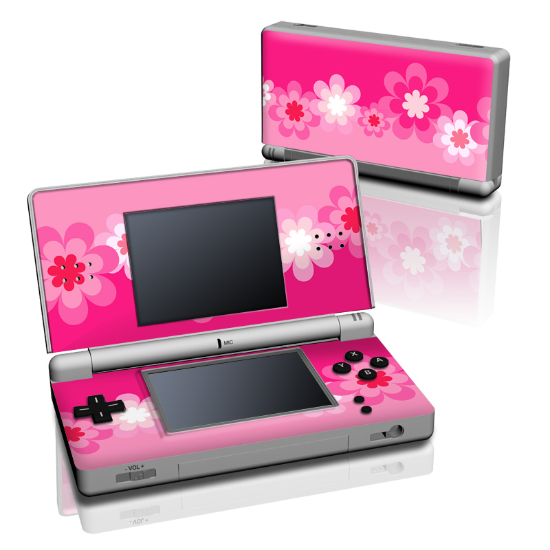 ds lite skin retro pink flowers decalgirl