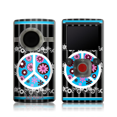 Flip Ultra HD Skin - Peace Flowers Black
