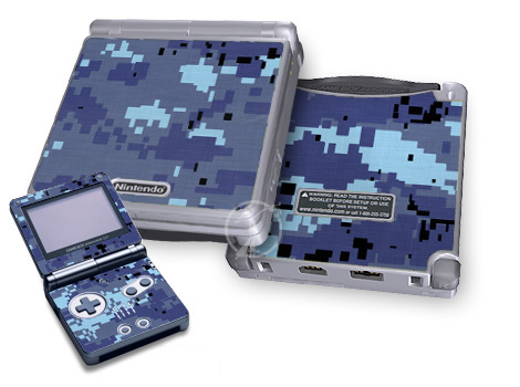 Gameboy SP Skin - Digital Sky Camo