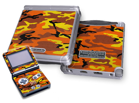 Gameboy SP Skin - Orange Camo