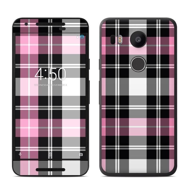 Google nexus 5x skin pink plaid decalgirl for Nexus 5 skin template