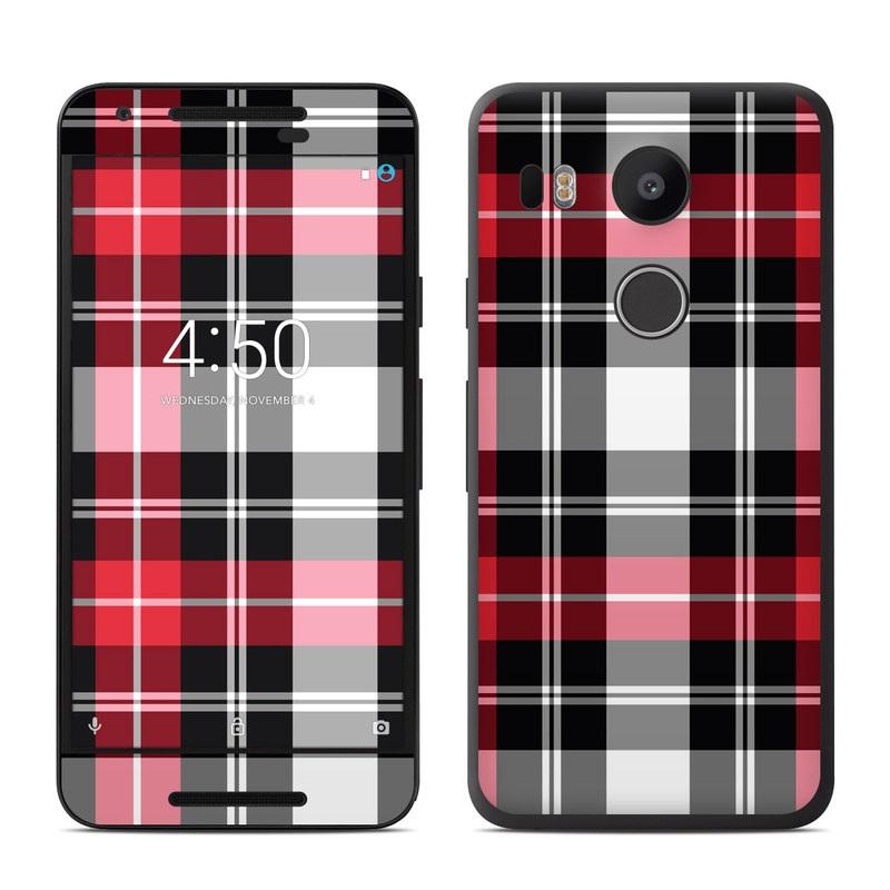 Google nexus 5x skin red plaid decalgirl for Nexus 5 skin template