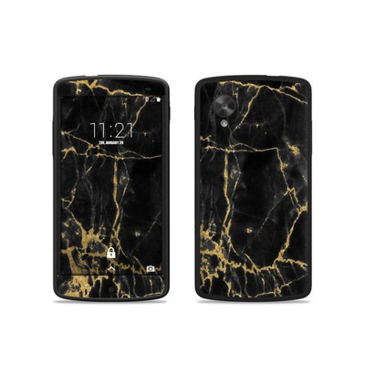 Google Nexus 5 Skin - Black Gold Marble
