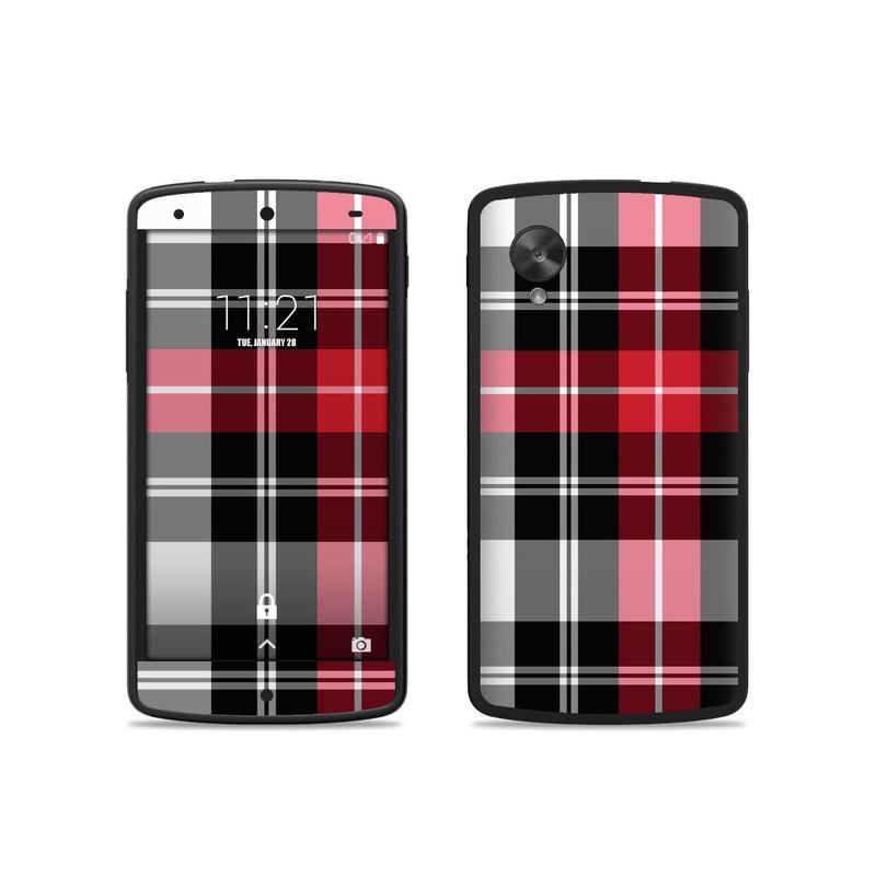 Google nexus 5 skin red plaid decalgirl for Nexus 5 skin template