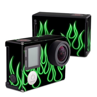 GoPro Hero4 Black Skin - Green Neon Flames