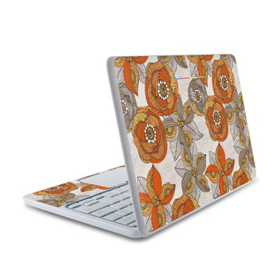 HP Chromebook 11 Skin - Orange and Grey Flowers